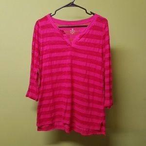 Talbots Rayon & Cotton Blend Pink 3/4 Sleeve Top